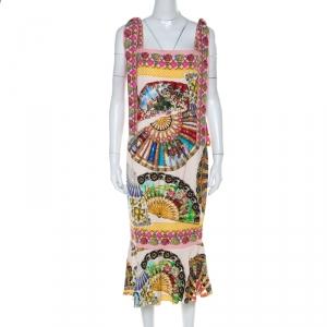 Dolce & Gabbana Multicolor Stretch Silk Oriental Fan Print Flounce Dress M