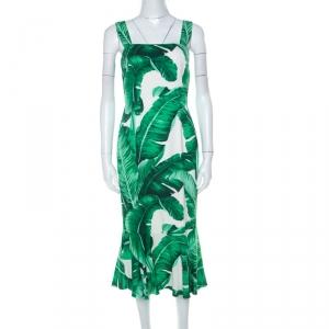 Dolce and Gabbana Green & White Banana Leaf Print Ruffle Hem Sleeveless Dress M