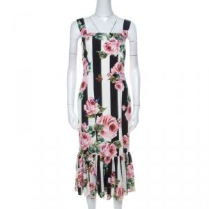 Dolce and Gabbana Black & White Striped Floral Print Stretch Silk Dress M