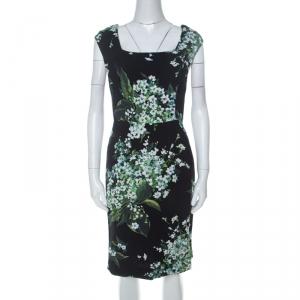 Dolce & Gabanna Black Floral Print Moss Crepe Cap Sleeve Sheath Dress S used