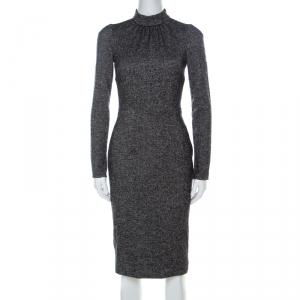 Dolce and Gabbana Tonal Grey Wool Blend Tweed Long Sleeve Sheath Dress XS