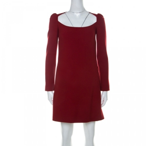 Dolce & Gabbana Red Wool Long Sleeve Shift Dress S - used