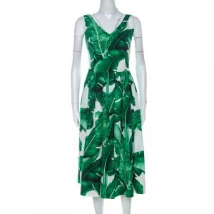 Dolce and Gabbana Banana Leaf Print Cotton Poplin Dress S