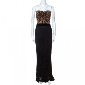 Dolce & Gabbana Multicolor Leopard Print and Lace Strapless Maxi Corset Dress S