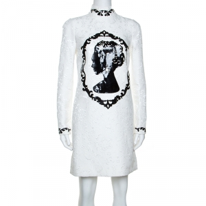 Dolce and Gabbana White Jacquard Applique Detail Short Dress S