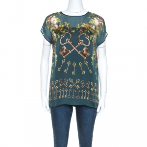 Dolce & Gabbana Green Floral and Key Print Silk Sheer Top S - used