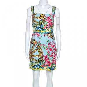 Dolce and Gabbana Multicolor Floral Printed Crepe Cady Short Dress M