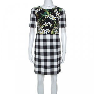 Dolce and Gabbana Floral Gingham Print Cotton Short Dress S