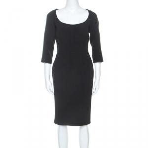 Dolce and Gabbana Black Crepe Slim Fit Midi Dress L