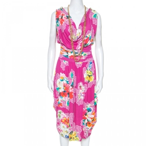 Dolce and Gabbana Pink Floral Print Jersey Draped Chain Detail Dress M