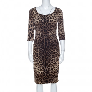 Dolce and Gabbana Brown Crepe Leopard Print Ruched Detail Dress M