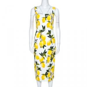 Dolce & Gabbana Lemon Print Sleeveless Midi Sheath Dress S used