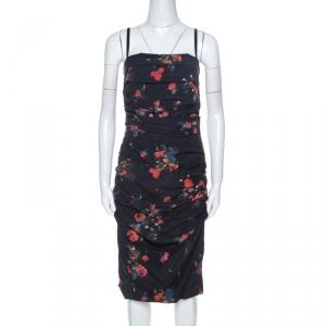 Dolce & Gabbana Black Floral Print Stretch Silk Ruched Dress M