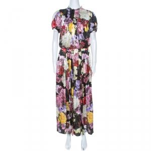 Dolce & Gabbana Multicolor Floral Print Lurex Silk Maxi Dress L