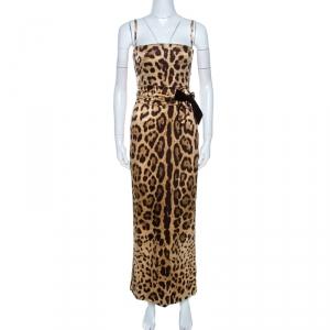 Dolce & Gabbana Brown Leopard Print Silk Maxi Dress S