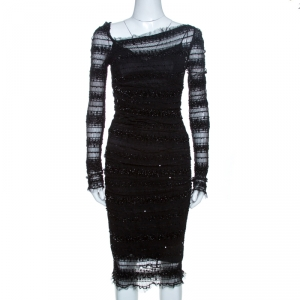 Dolce & Gabbana Black Sequined Ruched Tulle Dress M