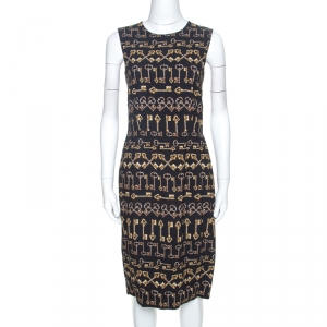 Dolce and Gabbana Black Crepe Key Print Sheath Dress M