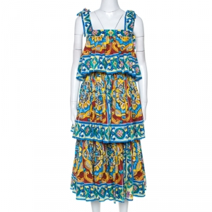 Dolce & Gabbana Multicolor Majolica Print Cotton Tiered Midi Dress M