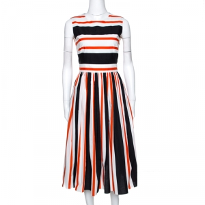 Dolce & Gabbana Multicolor Striped Cotton Cutout Back Midi Dress S