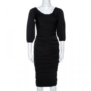 Dolce & Gabbana Black Stretch Silk Ruched Midi Dress XS