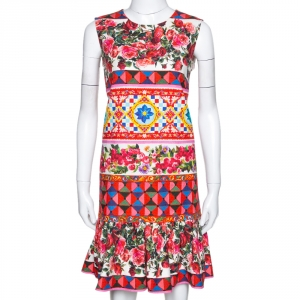 Dolce & Gabbana Multicolor Textured Cotton Mambo Print Flounce Dress M