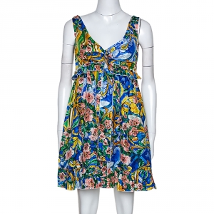 Dolce & Gabbana Multicolor Floral Printed Silk Ruffle Detail Dress M