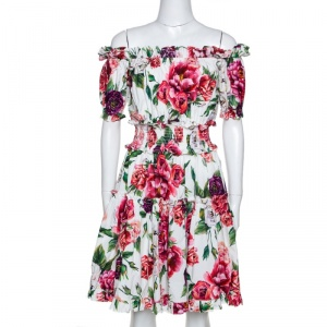 Dolce & Gabbana Multicolor Peony Printed Cotton Poplin Off Shoulder Dress S