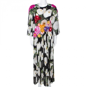 Dolce & Gabbana Multicolor Floral Appliqued Silk Pleated Maxi Dress M