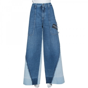 Dolce & Gabbana Blue Denim Patched Wide Leg Jeans L