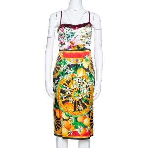 Dolce & Gabbana Multicolor Floral Lemon Print Silk Satin Sheath Dress S used