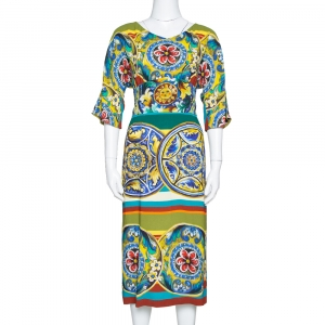 Dolce & Gabbana Multicolor Printed Crepe Sheath Dress L used