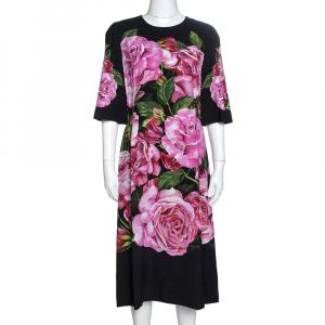 Dolce & Gabbana Black Rose Print Crepe Midi Dress M - used