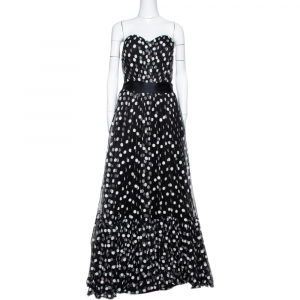 Dolce & Gabbana Black Polka Dot Embroidered Tulle Strapless Gown L used