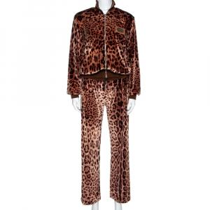Dolce & Gabbana Brown Leopard Print Velvet Pants And Jacket Set M