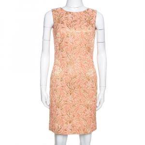 Dolce & Gabbana Peach Brocade Silk Dress S