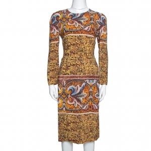 Dolce & Gabbana Yellow Mosaic Print Crepe Sheath Dress L