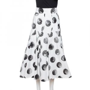 Dolce & Gabbana White Polka Dot Print Cotton Flared Skirt S