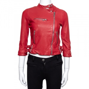 Dolce & Gabbana Red Washed Leather Biker Jacket S