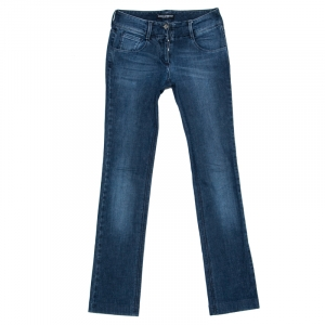 Dolce & Gabbana Indigo Faded Effect Denim Straight Fit Jeans M