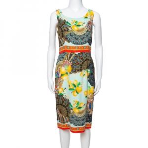 Dolce & Gabbana Multicolor Lemon Print Silk Crepe Sheath Dress M used