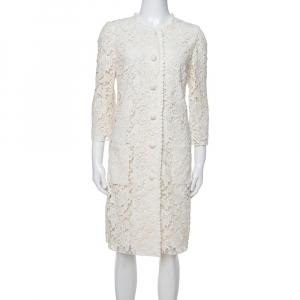Dolce & Gabbana Off White Floral Lace Button Front Coat M
