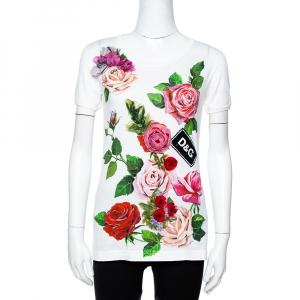 Dolce & Gabbana White Printed Cotton Floral Appliqued T-Shirt S