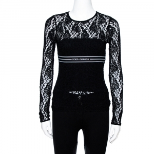 Dolce & Gabbana Black Lace Logo Band Trim Top S