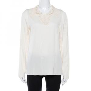 Dolce & Gabbana Cream Stretch Silk Lace Collar Blouse L
