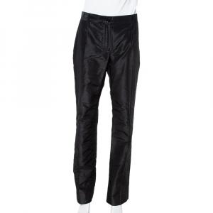 Dolce & Gabbana Black Silk Taffeta Straight Leg Pants L