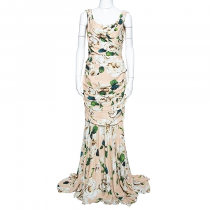 Dolce & Gabbana Cream Floral Print Crepe Ruched Gown M used