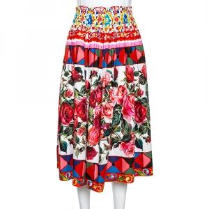 Dolce & Gabbana Multicolor Carretto Print Cotton Pleated Skirt S