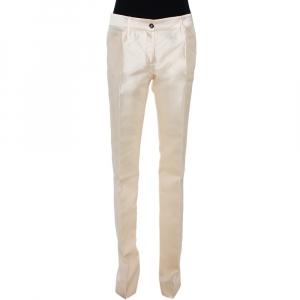 Dolce & Gabbana Cream Silk Flared Trousers S