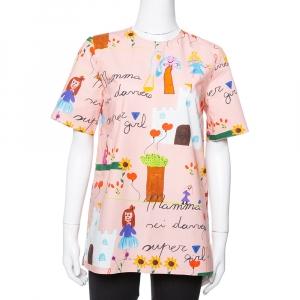 Dolce & Gabbana Pink Kids Drawing Print Cotton Top M