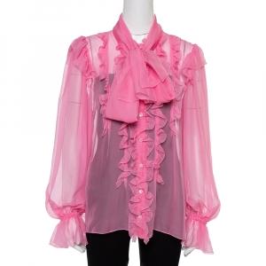 Dolce & Gabbana Pink Silk Ruffled Pussy Bow Blouse L
